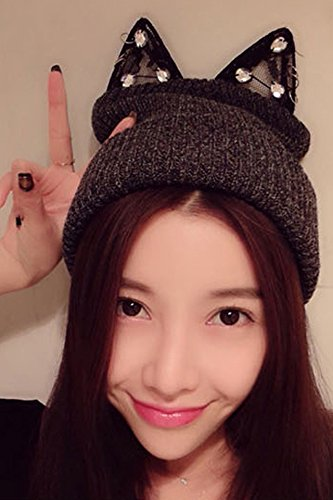 Generic Korean_style_of lovely _personality_lace_flash_drill_cat_ earrings _demon-solid-colored_sweet_ knitted hats _wool_ cap hat autumn winter _decoration (Drill Wool Hat)
