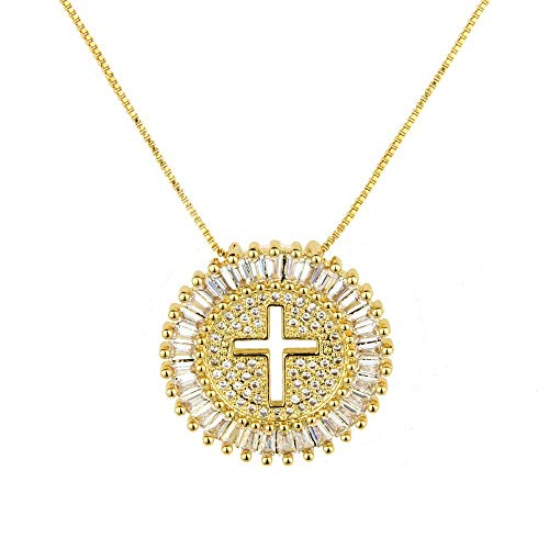 POSHFEEL Micro Pave Crystal Cross Necklace Gold Long Necklaces Pendants Womens Necklaces Jewelry