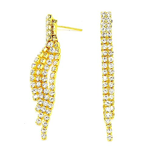 Women Clear Rhinestone Crystal Fringe Chandelier Statement Earrings Affordable Wedding Jewelry Gift Idea (Gold)