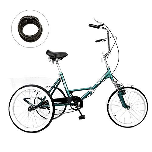 Sale!! Domingo Petrucci Adult Folding Tricycle Trike Cruise Bike Three-Wheeled Bicycle with Large Si...
