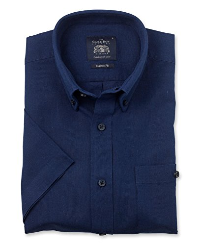 Savile Row Men's Navy Linen-Blend Classic Fit Button-Down Short Sleeve Casual Shirt XL ()