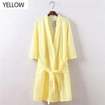 8471b293de1d Langchaoli Men Women Summer Cotton Waffle Lounge Bathrobe Nightwear ...