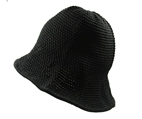 RW Knitted Crochet Fordable Hat With Flexible Wire Big Brim (Black)