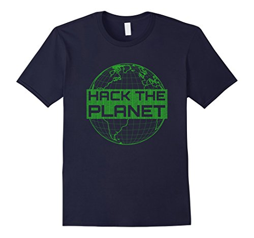 Men's Hack the Planet Software Developer T-Shirt - Green Design XL - Planet Blue Software