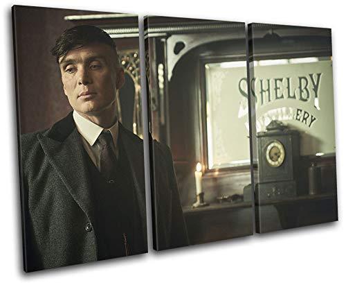 Diseño de bloque en negrita - Peaky Blinders Thomas Shelby TV 120x80cm Cuadro de impresión de lienzo agudo Cuadro enmarcado Colgante de pared - Hecho a mano en el Reino Unido - Enmarcado y listo para colgar 13-4013 (00B) -TR32-LO-C