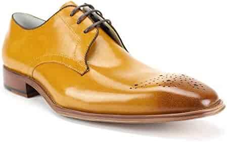 f678f96bd414d GIOVANNI Mens Leather Shoe Cole Lace-up with Medallion Perforations and Pop  Color Binding