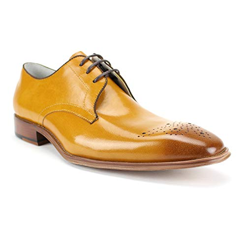 GIOVANNI Mens Leather Shoe Cole Lace-up with Medallion Perforations and Pop Color Binding (10.5 D(M) US, Scotch) ()
