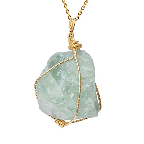 CXD-GEM Wire Wrapped Raw Gemstone Crystal Pendant Necklace Handmade Natural Healing Crystal Jewelry for Women(Green Fluorite/Green Color)