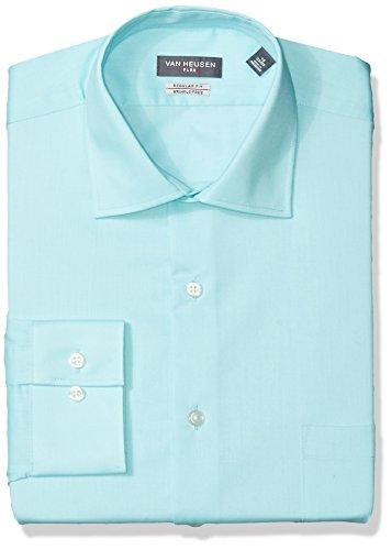 (Van Heusen Men's Dress Shirt Regular Fit Flex Collar Solid, Crème de mente, 14.5
