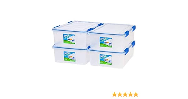 6 Pack Clear WeatherShield Storage Box Ziploc 16 Qt.//4 Gal