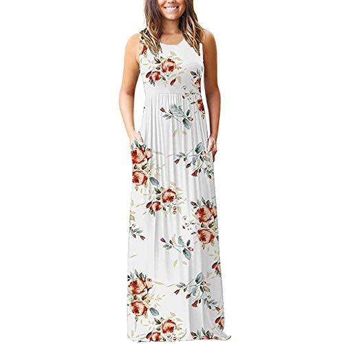 (Summer Dresses for Women Boho Floral Sleeveless Tank Dresses Loose Beach Long Maxi Dress with Pockets)