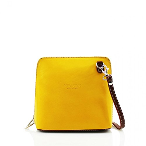 LeahWard? ITALY GENUINE LEATHER CROSS BODY SHOULDER SMALL BAGS 011 YELLOW/TAN CROSS BODY