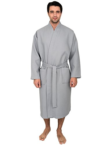 TowelSelections Men's Waffle Bathrobe Turkish Cotton Kimono Robe Large/X-Large Quarry (Male Robes)