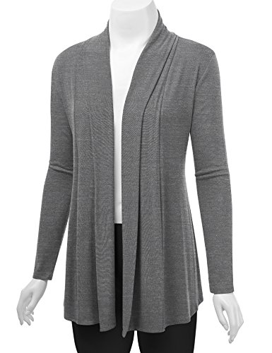 Lock and Love WSK1301 Womens Open Draped Knit Shawl Cardigan M Heather_Dark_Grey by Lock and Love (Image #4)