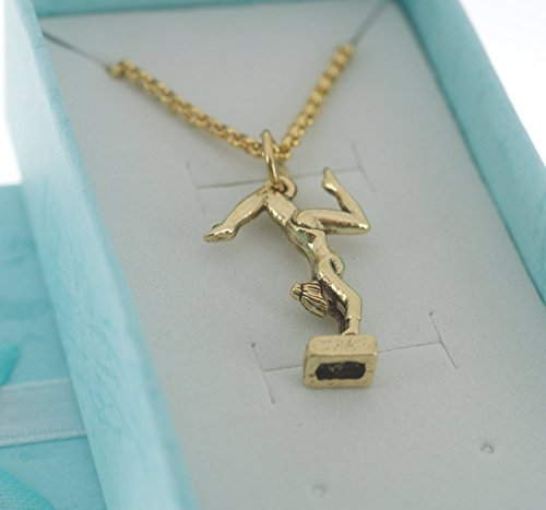 ics Charm Necklace in gold plated pewter on a 14 gold plated stainless steel rolo chain. Gymnastic jewelry. Gymnast. ()