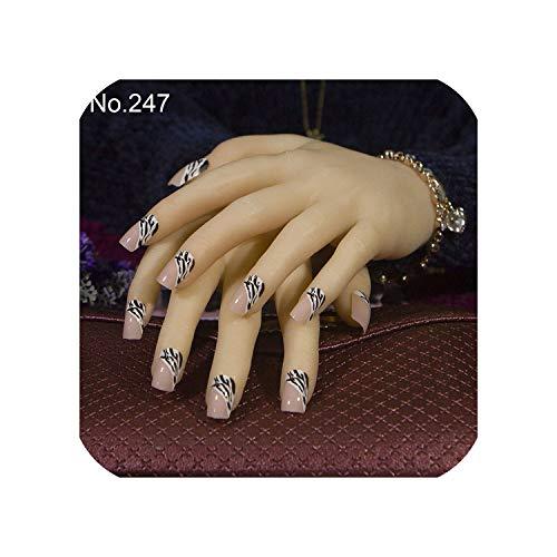 24pcs/set 3D Cute Bride fake nails Square false nails with Sided adhesive Middle-long full cover nail tips,247