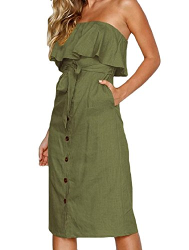 Dress Coolred Top Army Strapless Wrap Tunic Chest Ruffled Green Color Pure Women 6nUHSnR
