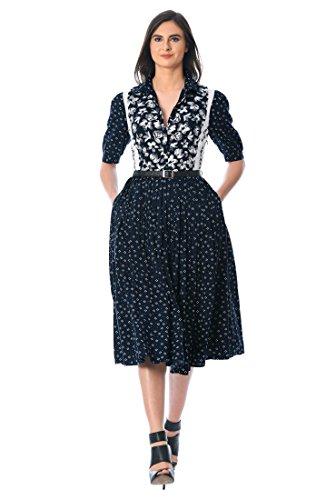 eShakti Women's Floral Graphic Print Faux-Leather Belted Dress 1X-16W Short Multi -