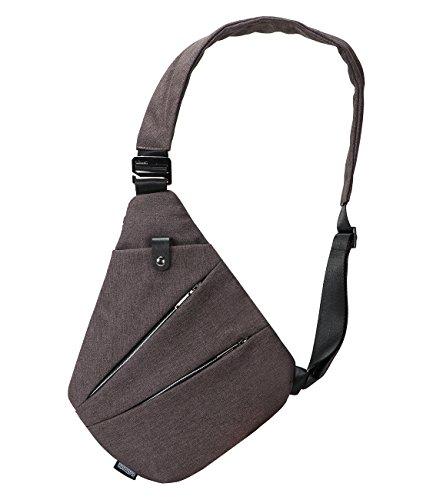 Sling Bag Chest Shoulder Backpack Crossbody Bags for Men Boys Travel Outdoors (Brown)