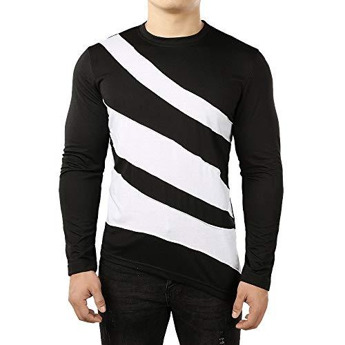 - QBQCBB Fashion Men O Neck Blouse Long Sleeve Fit Pullover Striped Comfortable Shirt(Black,L)