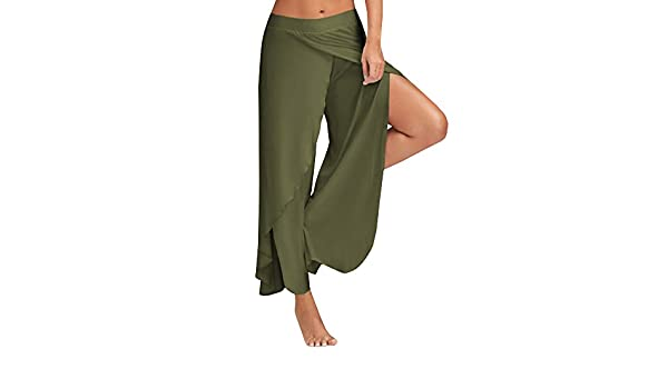 9a3af73b780067 Ferbia Women's High Slit Solid Flowy Layered Crooped Palazzo Pants/Army  Green: Amazon.ca: Clothing & Accessories
