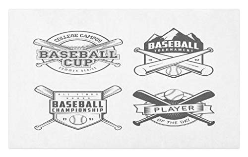 Lunarable Sports Doormat, College Baseball Logos Vintage Greyscale Composition of Labels of Teams, Decorative Polyester Floor Mat with Non-Skid Backing, 30 W X 18 L Inches, Charcoal Grey White