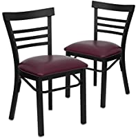 Flash Furniture 2 Pk. HERCULES Series Black Ladder Back Metal Restaurant Chair - Burgundy Vinyl Seat