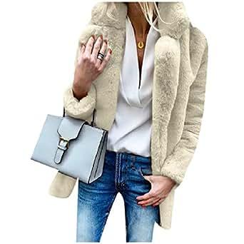 RDHOPE-Women Fake Fur Pure Color Winter Longline Shaggy