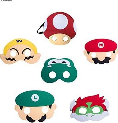Fuovt 6 Pack Super Mario Bros Party Masks Mario Birthday Party ...