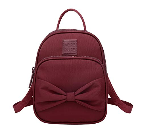 MOREPURE Mini Convertible Backpack Purse Shoulder Bag Handbag, Maroon