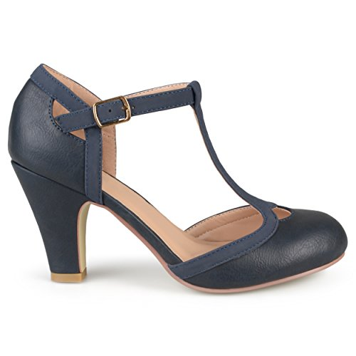 Brinley Co. Womens Cut Out Round Toe T-Strap Two-Tone Matte Mary Jane Pumps Navy, 8.5 Wide Width US ()
