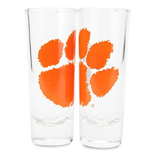 Boelter NCAA Color Team Logo 2oz Cordial Shot Glass 2-Pack (Clemson Tigers) -