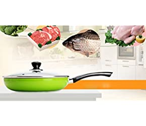 10 Inches anti oil smoke Non Stick Frying Fry Pan Induction Kitchen Cookware Breakfast Saucepan Fried Pan Use for Gas and Induction Cooker (green)