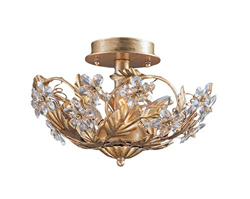 Crystorama 5305-GL Crystal Accents Three Light Semi Flush Mount from Abbie collection in Gold, Champ, Gld Leaffinish, from Crystorama Lighting Group