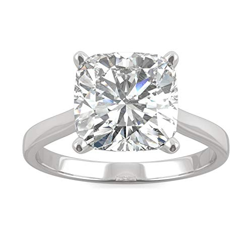 (14K White Gold Moissanite by Charles & Colvard 9.0mm Cushion Solitaire Ring- size 7, 3.30ct DEW)