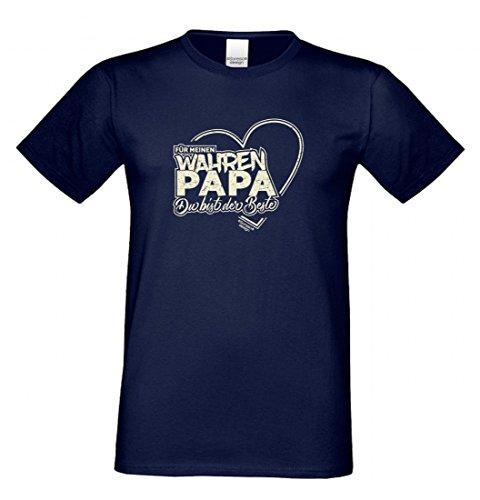 T-Shirt als Geschenk für den Vater - Motiv mit Herz - Ein Dank für den wahren Papa mit Humor zum Vatertag oder einfach so, Größe S Farbe 05-Navy