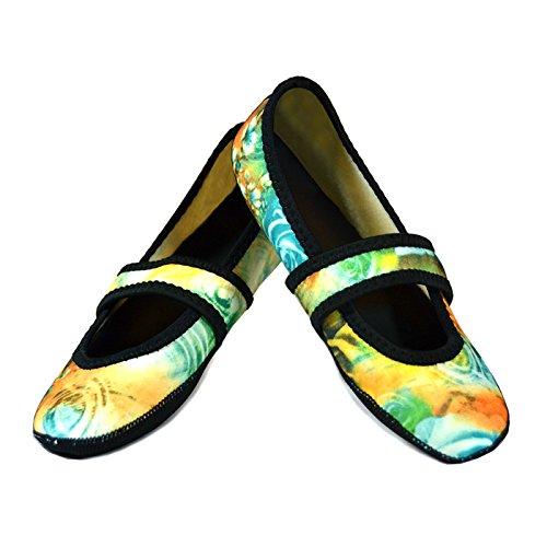 Nufoot Women's Betsy Lou Fuzzies Slipper Socks, Small, Teal Rose