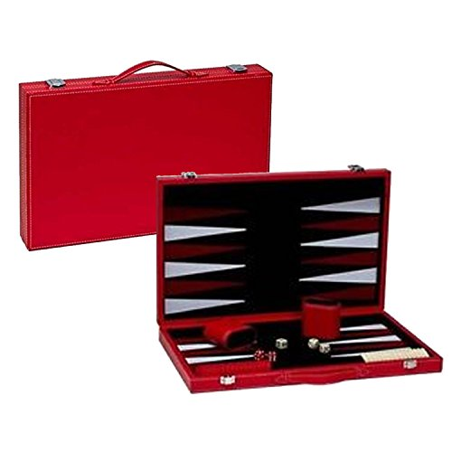 Red Leatherette Backgammon Set - 15