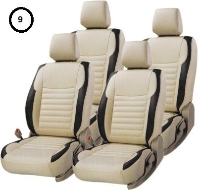 KHUSHAL Faux Leather Car Seat Cover For Hyundai I10 Grand Beige And Black Ks003Hi10G