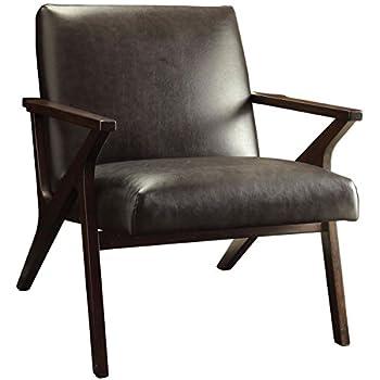 Amazon Com Rivet Huxley Mid Century Accent Chair Burnt