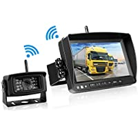 Emmako Backup Camera Digital Wireless and 7 Display Monitor For Trailer/RV/5th Wheel Reverse Camera System Kit Working Over 300 Foot Stable Signal Waterproof Night Vision Camera Guide Lines Optional