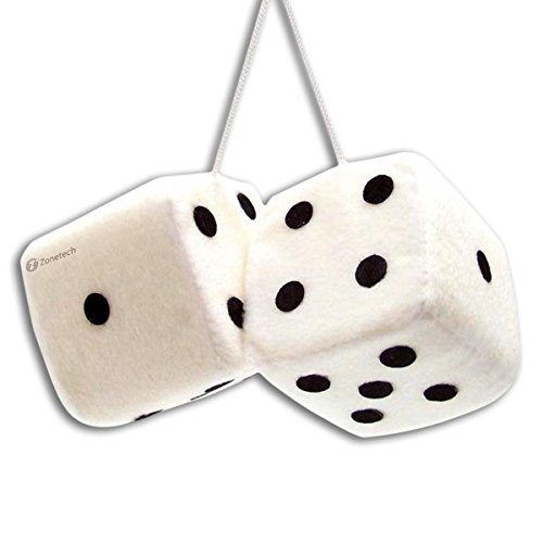 Zone Tech Pair Black and White Mirror Fuzzy Dice - Pair Black and White Plush Car Mirror Fuzzy Dice Pair