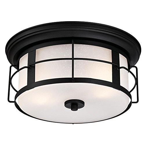 Two Light Outdoor Flush - Westinghouse 6339200 Orwell Two-Light Outdoor Flush-Mount Fixture, Textured Black Finish with Frosted Seeded Glass, Round