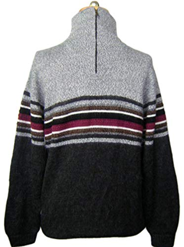 Turtleneck Alpaca Sweater - Gamboa - Alpaca Turtleneck - Alpaca Sweater for Men - Striped Design Grey