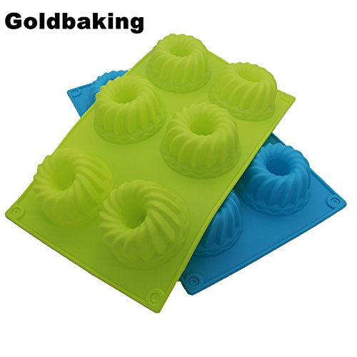 6 Cavities Silicone Bundt Cake Mold Silicon Muffin Baking Mould Blossom Cupcake Pan