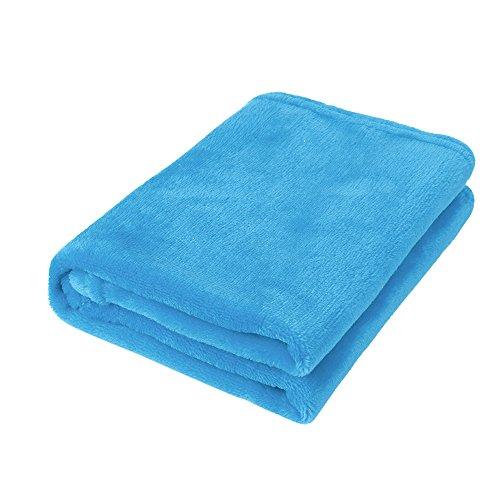 - Hide on bush 45X65CM Fashion Solid Soft Throw Kids Blanket Warm Coral Plaid Blankets Flannel (Sky Blue)