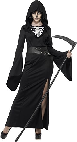 [Smiffy's Women's Lady Reaper Costume, Dress, Belt and Cape, Legends of Evil, Halloween, Size 10-12,] (Lady Reaper Costumes)