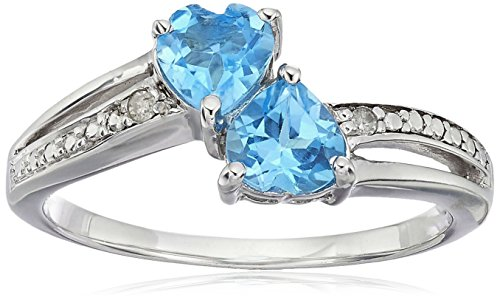Topaz Accent Diamond Blue - Sterling Silver Diamond Accent and Blue Topaz Two Heart Ring, Size 6