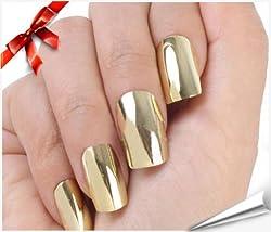 So Beauty Nail Art Polish Gold Metallic Foil Sticker Patch Wraps Tips 16pcs