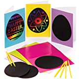 Baker Ross Easter Egg Scratch Art Cards (Pack of 6) Easter Crafts for Kids to Decorate and Gift